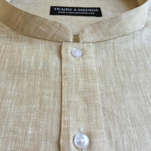 Camisa de lino cuello Mao Nehru